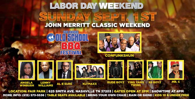 4Pm | 6Th Annual Old School Bbq Festival | The Nashville Fairgrounds. Featuring Confunkshun, Angela Winbush, Lenny Williams, Al B. Sure, Klymaxx & More